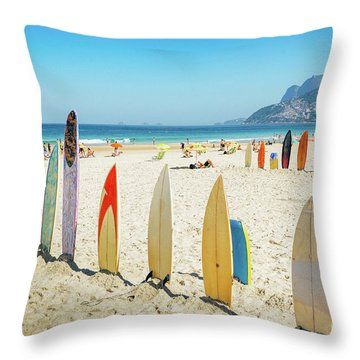 Surfboards On Ipanema Beach, Rio De Janeiro Throw Pillow