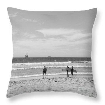 Strollin On Dog Beach Throw Pillow