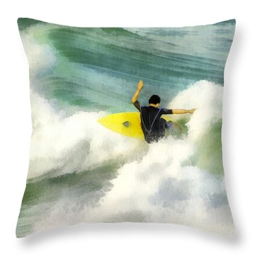 Throw Pillow featuring the digital art Surfer 76 by Francesa Miller
