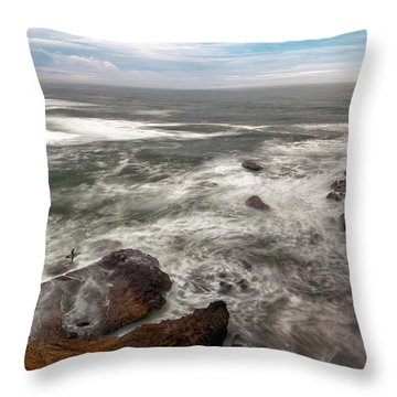 Surfer At Cape Kiwanda In Pacific City Throw Pillow by David Gn