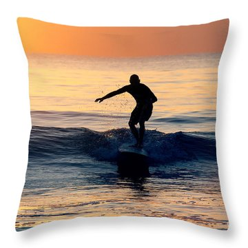Surfer At Dusk Throw Pillow
