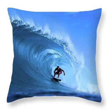Throw Pillow featuring the photograph Surfer Boy by Movie Poster Prints