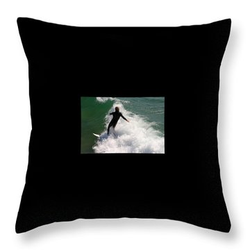 Surfer Catching A Wave Throw Pillow