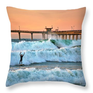 Surfer Celebration Throw Pillow
