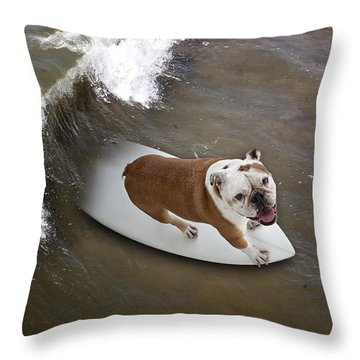 Surfer Dog Throw Pillow
