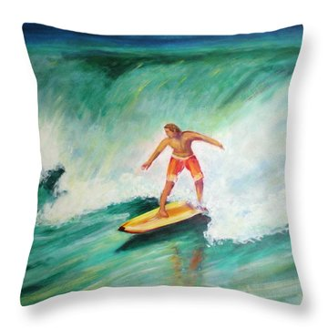 Surfer Dude Throw Pillow by Patricia Piffath