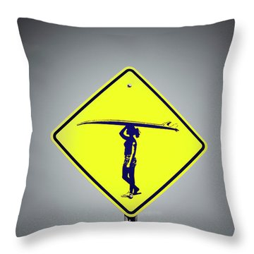 Carrying My Board Throw Pillow