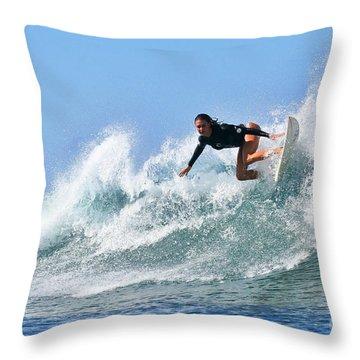 Surfer Girl At Bowls 5 Throw Pillow