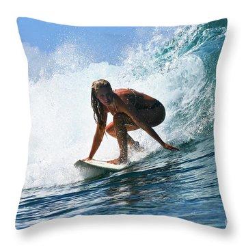 Surfer Girl At Bowls 8 Throw Pillow