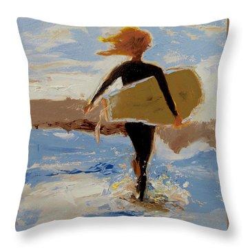 Surfer Girl Throw Pillow by Barbara Andolsek