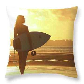 Surfer Girl On Summer Sunset Beach Throw Pillow