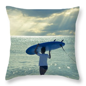 Surfer Girl Square Throw Pillow