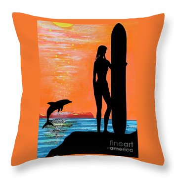 Surfer Girl With Dolphin Throw Pillow