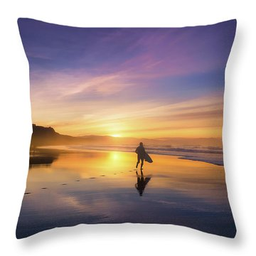 Surfer In Beach At Sunset Throw Pillow