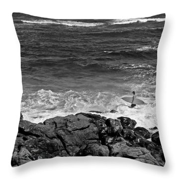Surfer Near The Rocks Throw Pillow