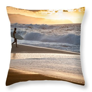 Surfer On Beach Throw Pillow