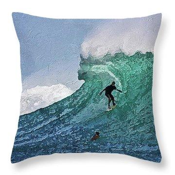Throw Pillow featuring the digital art Surfer On Blue Ocean Wave by PixBreak Art
