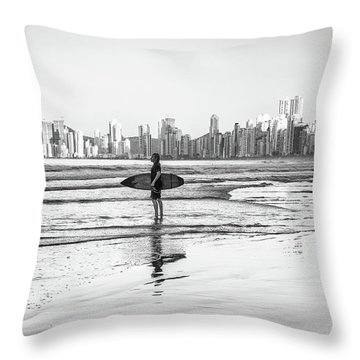 Surfer On The Beach Throw Pillow