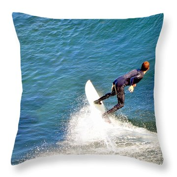 Surfer, Steamer Lane, Santa Cruz, Series 19 Throw Pillow