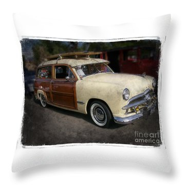 Surfer Wood Panel Car Throw Pillow