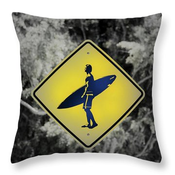 Surfer Xing Throw Pillow by Joseph S Giacalone