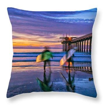 Surfers At Scripps Pier In La Jolla California Throw Pillow