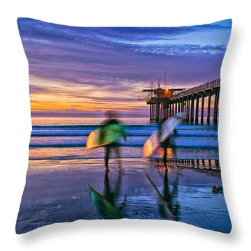 Surfers At Scripps Pier In La Jolla California Throw Pillow