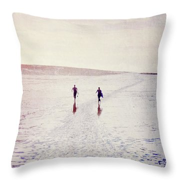 Throw Pillow featuring the photograph Surfers In The Snow by Lyn Randle