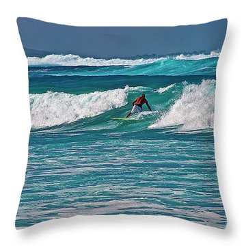 Surfing A-bay Throw Pillow