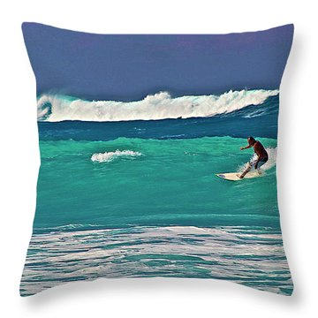 Surfing At Anaeho'omalu Bay 2 Throw Pillow