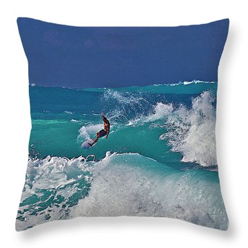 Surfing At Anaeho'omalu Bay Throw Pillow