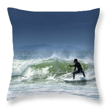 Surfing At Byron Bay Throw Pillow