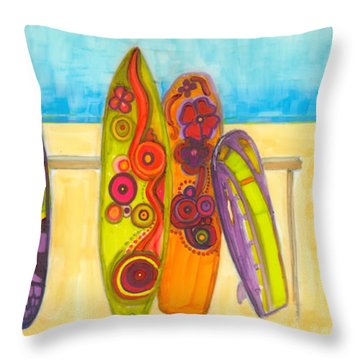 Surfing Buddies - Surf Boards At The Beach Illustration Throw Pillow
