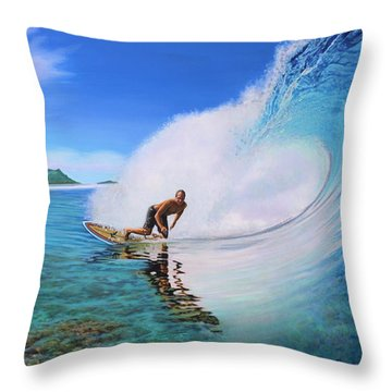 Surfing Dan Throw Pillow
