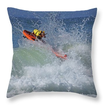 Surfing Dog Throw Pillow by Thanh Thuy Nguyen