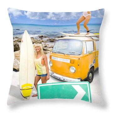 Surfing Holiday This Way Throw Pillow