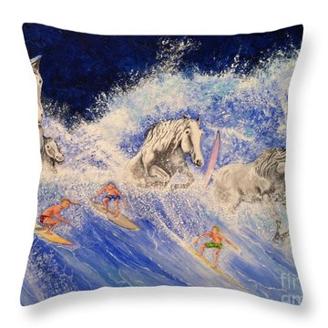 Surfing Horses Throw Pillow