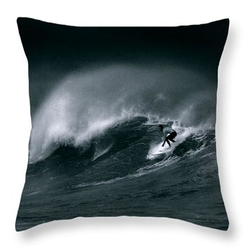 Surfing In Heavy Wind And Tide Throw Pillow