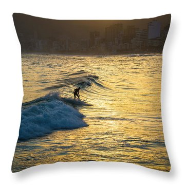 Surfing In Rio Throw Pillow by Lana Enderle