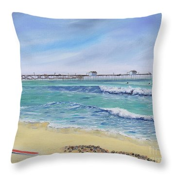 Throw Pillow featuring the painting Surfing In San Clemente by Mary Scott