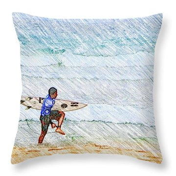Surfer In Aus Throw Pillow by Daisuke Kondo