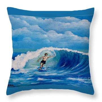 Surfing On The Waves Throw Pillow