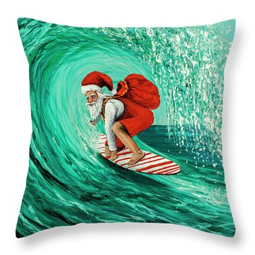 Throw Pillow featuring the painting Surfing Santa by Darice Machel McGuire