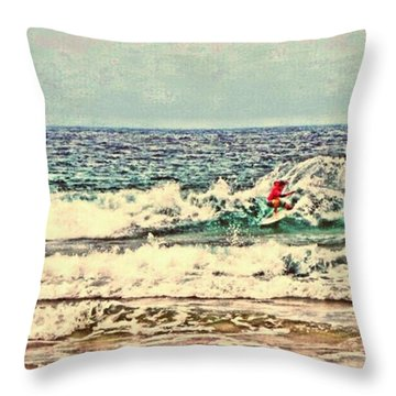 People On The Wave Throw Pillow by Daisuke Kondo