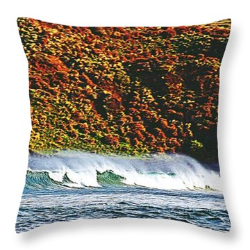 Surfing The Island Throw Pillow