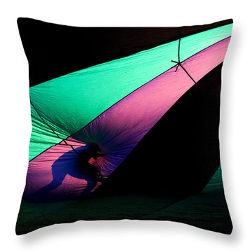 Surfing The Silk Throw Pillow by Mike  Dawson