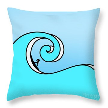 Surfing The Wave Throw Pillow