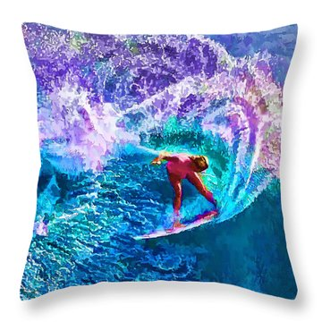 Surfs Like A Girl 1 Throw Pillow by ABeautifulSky Photography