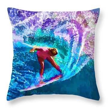 Surfs Like A Girl 2 Throw Pillow by ABeautifulSky Photography