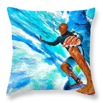 Surf's Up With Kelly Slater Throw Pillow by ABeautifulSky Photography